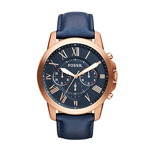 Now available Fossil Men's FS4835 Grant Chronograph Leather Watch - Rose Gold-Tone and Blue