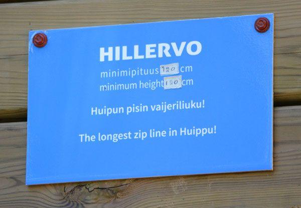 Seikkailupuisto Huipun sininen rata Hillervo
