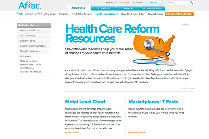 Aflac is one of the only companies using more infographics. They tend to have animated duck intros to each section of their pages. They do use images as well to get their ideas across mostly in the guise of client stories.