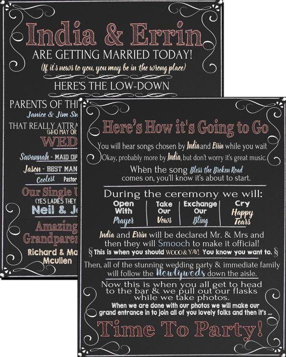 modern twist on wedding programs, enjoyable funny wedding programs, neutral color wedding program, funny programs for wedding ID# SGNWED01