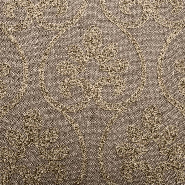 Chloe Pattern With Gold Color On Taupe Linen Style Fabric