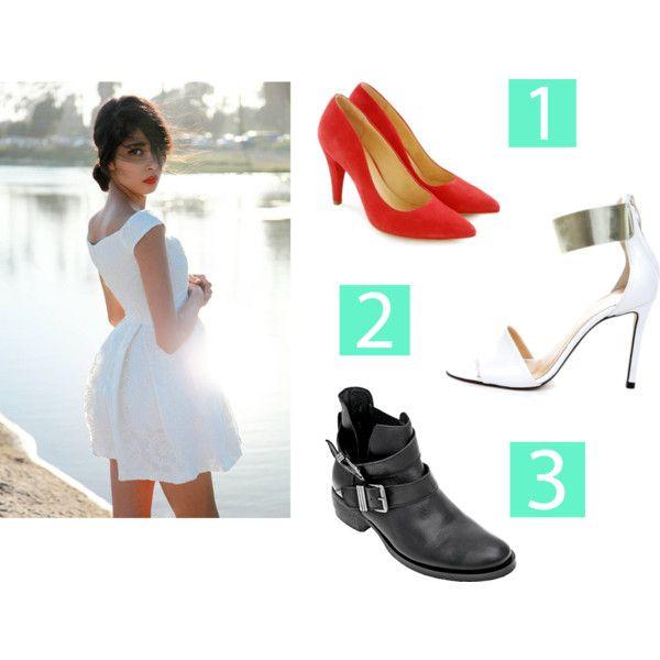 Biała sukienka pięknie podkreśla opaleniznę i idealnie sprawdzi się w upalne dni.  Jeżeli okazja ma charakter bardziej uroczysty załóż do sukienki pełne buty, mogą być w kolorze np. pomadki do ust (1. Ryłko) Latem niezawodne będą sandałki, białe lub kremowe, wówczas uzyskasz bardzo nowoczesny, minimalistyczny look (2. Prima Moda) Jeżeli chcesz przełamać biel sukienki wybierz ciężkie buty, a na ramiona załóż ramoneskę i pamiętaj, że moda kocha kontrasty. (3. Wojas)
