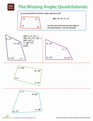The Missing Angle: Quadrilaterals | Geometry worksheets ...