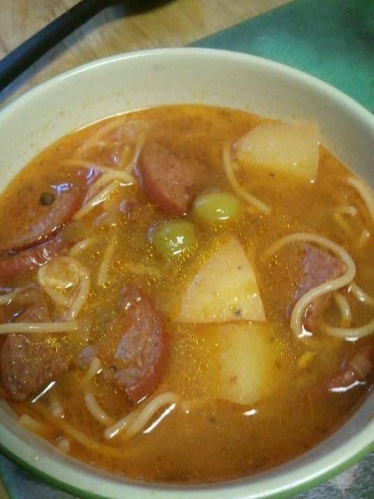 Sopa de Salchichon  -Puerto Rican Salami Sausage Soup (from a Puerto Rican recipe FB page)