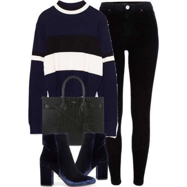 A fashion look from January 2017 featuring River Island jeans, Gianvito Rossi ankle booties and Yves Saint Laurent tote bags. Browse and shop related looks.