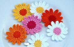 Crochet Daisy Flowers Summer White Yellow Orange by AnnieDesign, $10.00