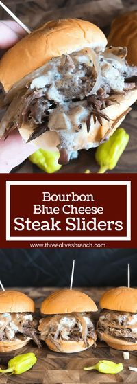 Use a slow cooker for simple and easy shredded steak sliders! Make the blue cheese sauce in advance for quick assembly. Perfect for your party, homegating, football or sport event like Super Bowl Sunday! Make them into a slider bar for customization. Kind