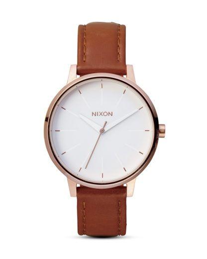 Quarzuhr Kensington Leather A108 1045-00 Rose Gold / White NIXON braun,roségold,weiß 3007001865352