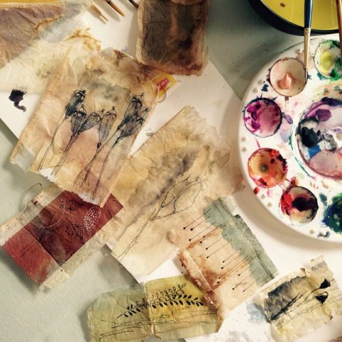 {Watercolors On Tea Dyed Paper}