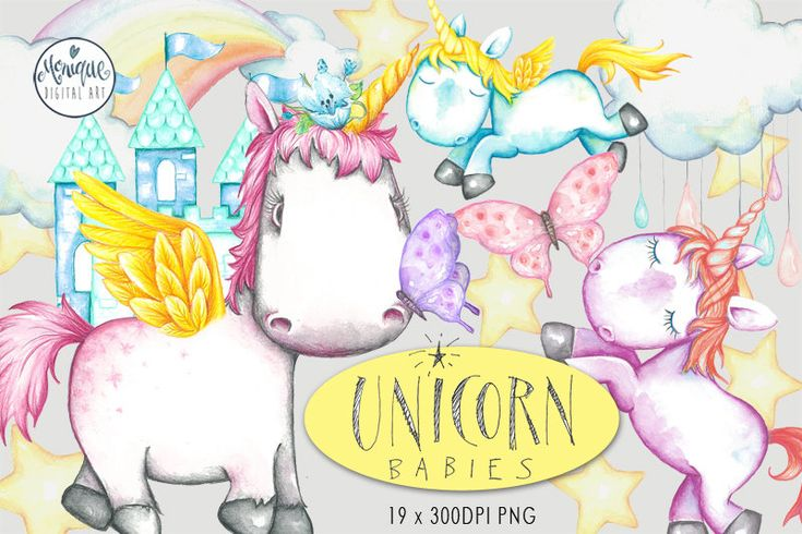 Clipart Unicorn Watercolor,Baby Unicorn,Cute Unicorn,Unicorn Invitation,Unicorn Party,Birthday,Printable,Instant Download, Planner Stickers by MoniqueDigitalArt on Etsy