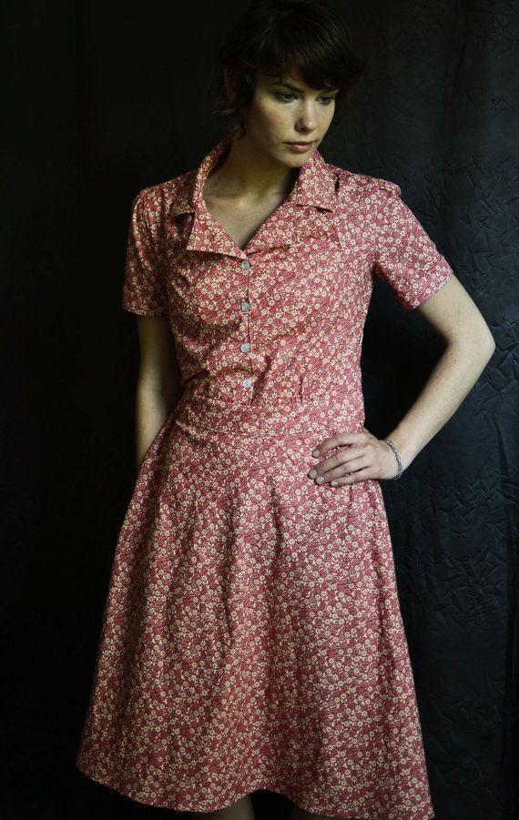 State Fair 1935 Shirt Dress /Pink Dress / Summer by LetsBacktrack