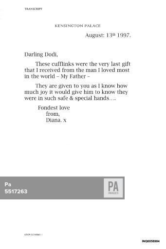 jan 16,2008--Diana inquest--Note by Princess Diana to Dodi Al Fayed dated 13/8/1997 which was shown to the inquest into the death of Diana, Princess of Wales at the High Court in London