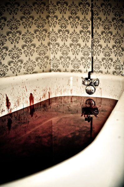 Fake blood in bathtub. Great for guest bathroom during a Halloween / gothic / vampire / dark themed party.