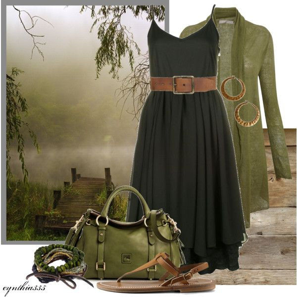 River Mist, created by cynthia335 on Polyvore: Rivers Mists, Early Fall Outfit, Dreams Closet, Casual Black Dresses, Cute Outfit, Olives Green, Work Outfit, Brown Boots, Green Dresses