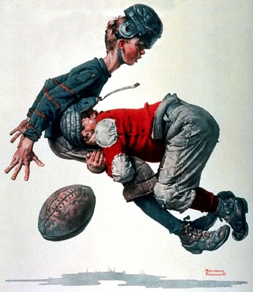 """Norman Rockwell """"Tackled"""" (1925)"""