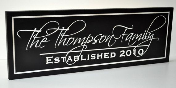 Family Established Sign Personalized Family by mrcwoodproducts, $35.00- black background, white font, scriptina font