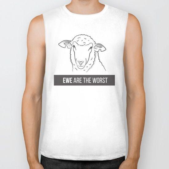 Ewe Are the Worst Biker Tank - ewe, sheep, animal, animals, wool, worst, pun, funny, humour, humor, sarcasm, sarcastic, line art, vector, art, illustration, design