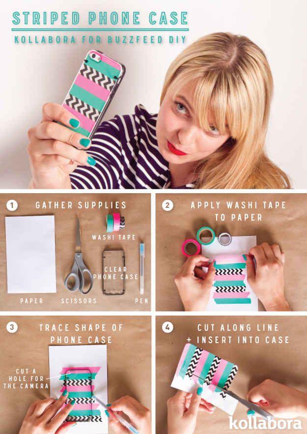 Striped Phone Case #DIY #washi #maskingtape (probably not going to put stripes) XD