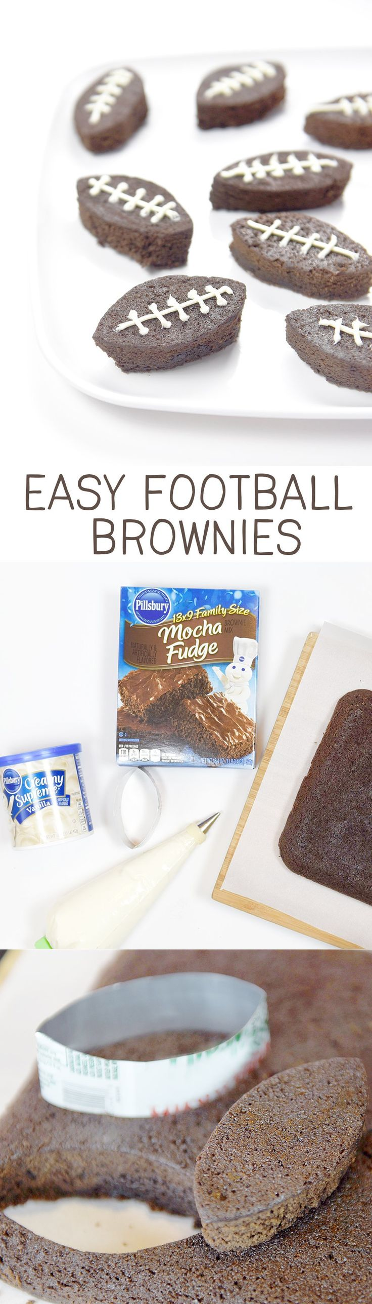 Easy Football Brownies for gameday!!  So cute and easily made with a soda pop can as the cookie cutter! (ad)