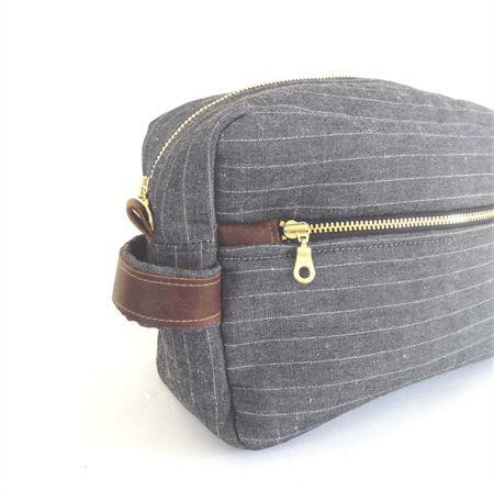 Men's Toiletry Case // Dopp Kit // Travel Toiletry Bag in Grey Stripe Linen