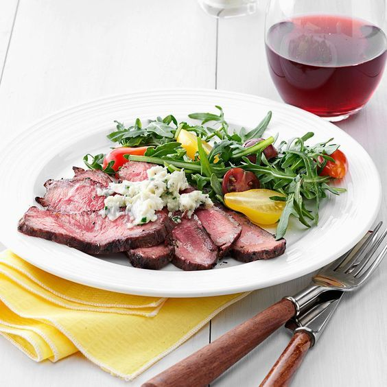 Blue Cheese Flat Iron Steak Recipe -If you haven't already enjoyed the rich, creamy pairing of blue cheese with your favorite steak, stop reading and get cooking! I take it a step further by folding in a little butter to make the dish even more drool-worthy. —Amanda Martin, Monson, Massachusetts