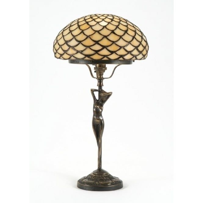 Elizabetta Art Nouveau Tiffany table lamp that features a nude female form. This is a quality reproduction table lamp from our Period Lighting Collection