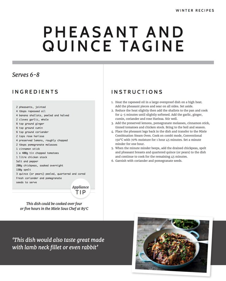 Warming and fragrant, our recipe for Pheasant and Quince Tagine is perfect for feeding a crowd and can be left to cook over four or five hours in your Miele Sous Chef Warming Drawer at 85° #madeinmyMiele
