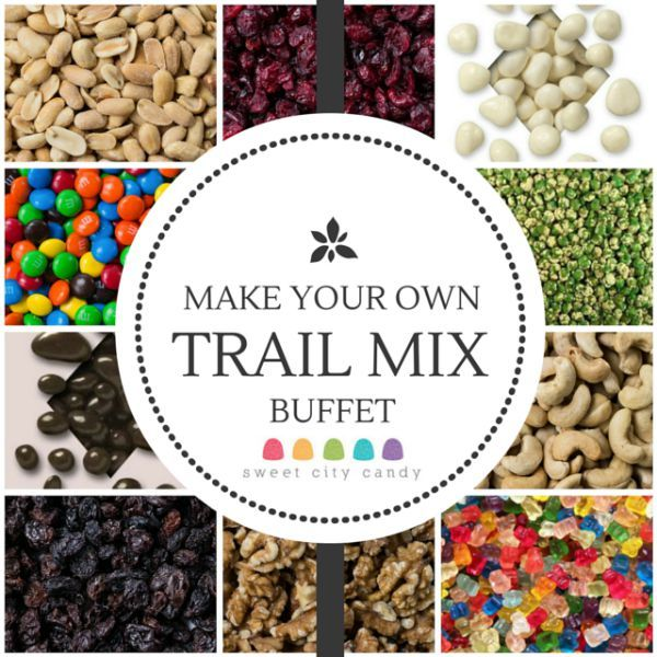 Make Your Own Trail Mix Buffet - perfect for a healthy alternative to a candy buffet. www.SweetCityCandy.com