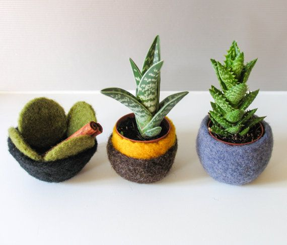 Felted Bowl Ecofriendly Decor Set of Trhee by totalhandmadeD