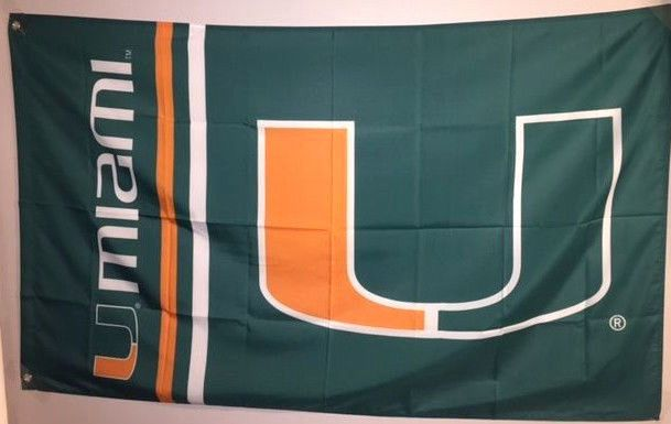 NCAA U of M Miami Hurricanes Flag Banner 3X5 FT Man Cave Garage Gift #MiamiHurricanes