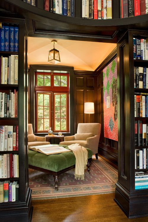 Cozy library: Spaces, Bookshelves, Cozy Reading Rooms, Idea, Reading Area, Home Libraries, Reading Nooks, House, Books Nooks