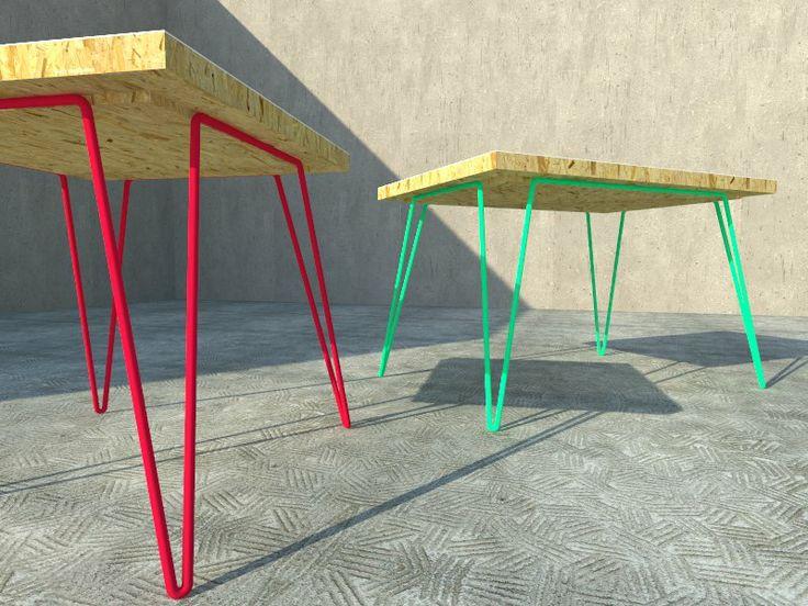 mesa tablero osb chapa metálica y patas en acero plegado by vanessa liste                                                                                                                                                                                 Más