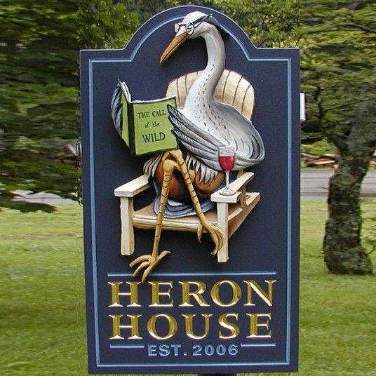 Heron House Name Sign Sculpture