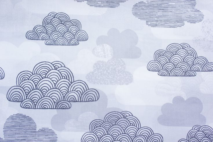 Cloud 9 Fabrics, Eloise Renouf, First Light, Passing Clouds, Monochrome, Gray, Organic Cotton, Quilting Sewing Material, Half Metre by TwoChubbyRabbits on Etsy