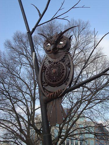 SPACES Sculpture Trail, Huntsville AL by Bruce Larsen (this owl is for sale, $38k):