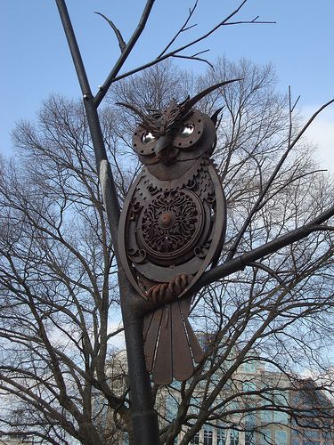 SPACES Sculpture Trail, Huntsville AL by Bruce Larsen (this owl is for sale, $38k):