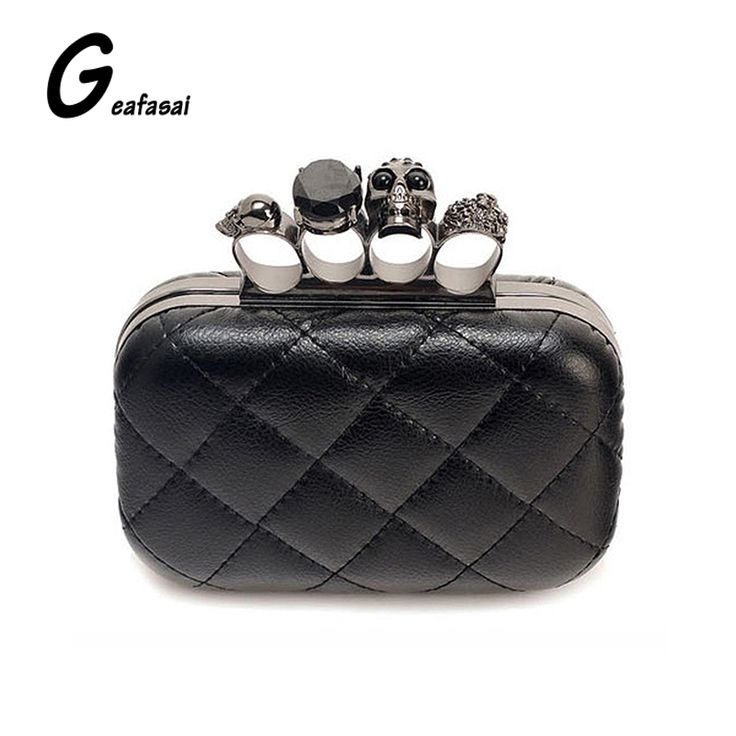 COUPON Vintage Skull Knuckle box Ring Hard Day Black Women Handbags Party Dinner Evening Bag crossbody shoulder Clutch Bag Chain