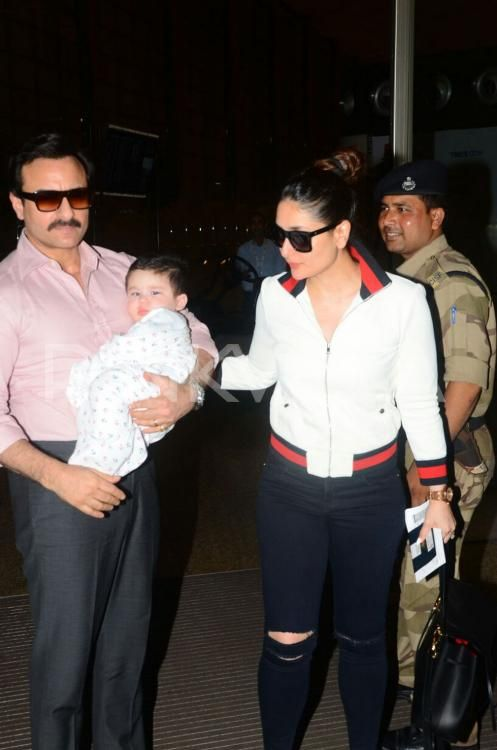 PICS: Kareena Kapoor Khan and Saif Ali Khan take off for Switzerland with little Taimur