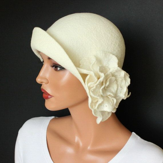 White hat cloche felt with brooch White felt hat by ZiemskaArt, $112.00