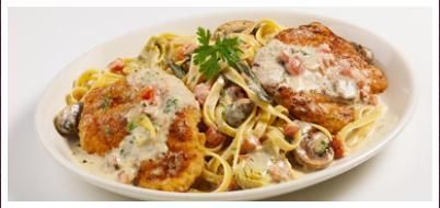 Chicken Anna Maria a rich and satisfying dish of two tender chicken filets sauteed with fresh sage, artichokes, mushrooms, scallions a...