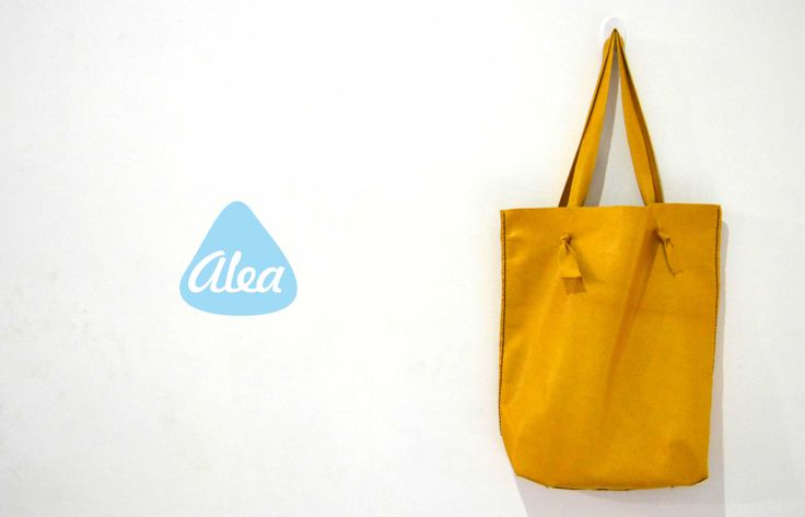 Alea's handmade leather tote bag collection in yellow $95