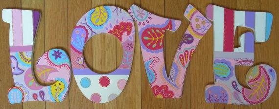 Custom hand painted wooden letters - and by my friend Jessie!