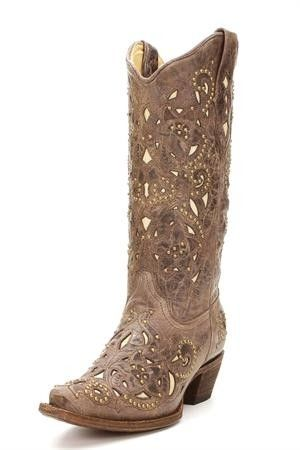 Corral Brown Crater Bone Inlay Cowgirl Boots with Studs