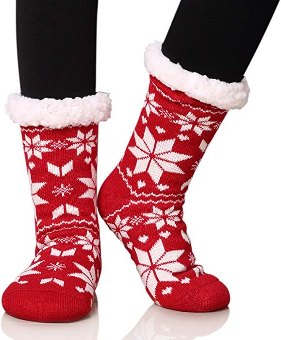 SO Womens Knitted Penguin Non-Slip Slipper Socks Lined w// Ribbed Cuffs One Size
