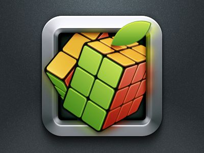 Apple Cube Icon via Dribbble
