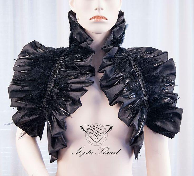 Black shiny taffeta shrug bolero with black feathers / e-shop: www.mysticthread.com / facebook: www.facebook.com/mysticthread.ltd / Instagram: www.instagram.com/mysticthread / Photo by Undefiled Photography & Editing #bolero #shrugbolero #rufflebolero #featheredbolero #feathers #blackfeathers #gothic #victorian #blackbolero #gothicfashion #victorianfashion #altfashion #alternative #gothicaccessories #altaccessories #gothicclothes #altclothes