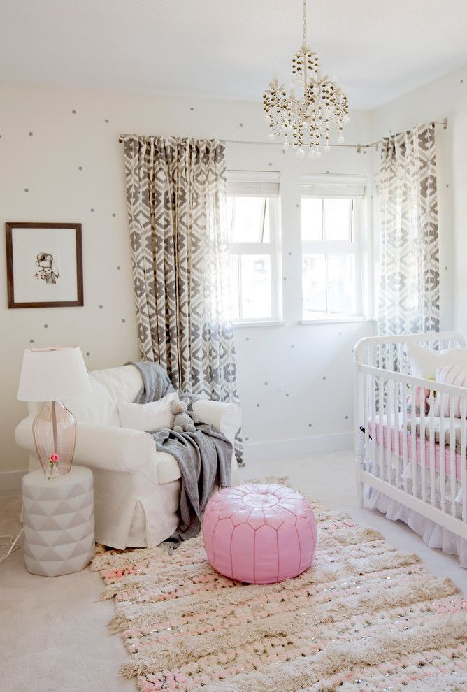 Best Nursery Glider Eclectic With Pink Accents Pouf Small Chandelier Wallpaper White Crib