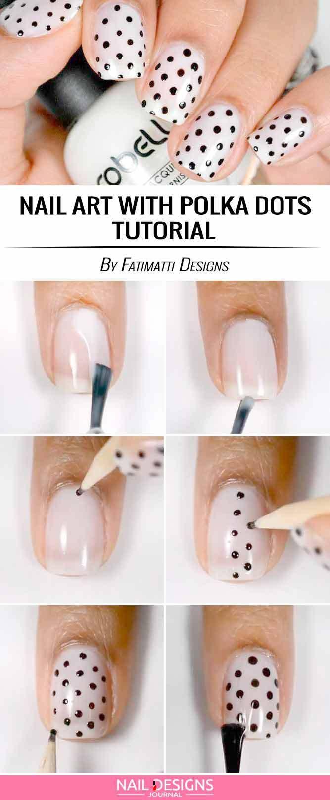 15 Super Easy Nail Designs DIY Tutorials: #2. Nail Art with Polka Dots & Bows; #nailart; #naildesign; #nailtutorial