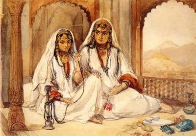 Two ladies smoking a hookah!