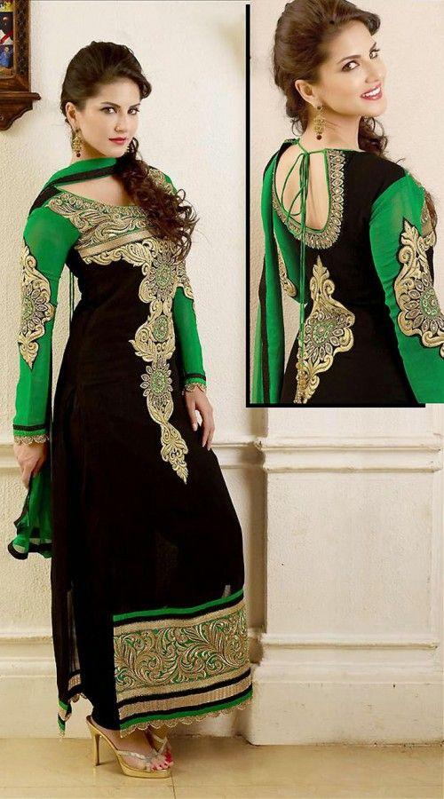 Bollywood Actress In Black Long Length Churidar Kameez 2FD3165851